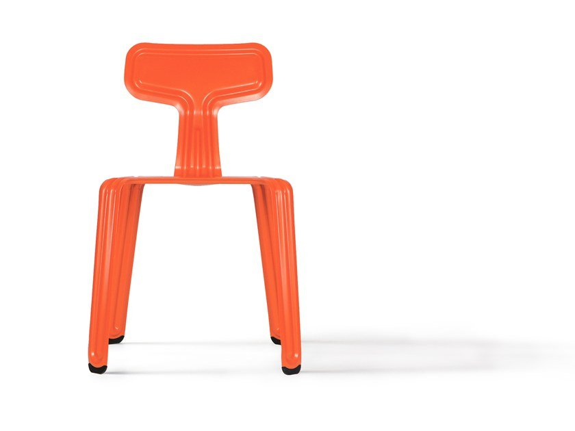 Stackable powder coated aluminium chair PRESSED CHAIR | Stackable chair by Nils Holger Moormann