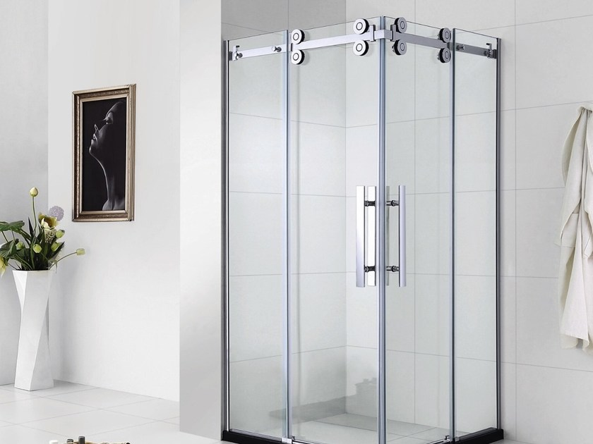 Custom tempered glass shower cabin with sliding door PRESTIGE | Tempered glass shower cabin by Swiss Concepts