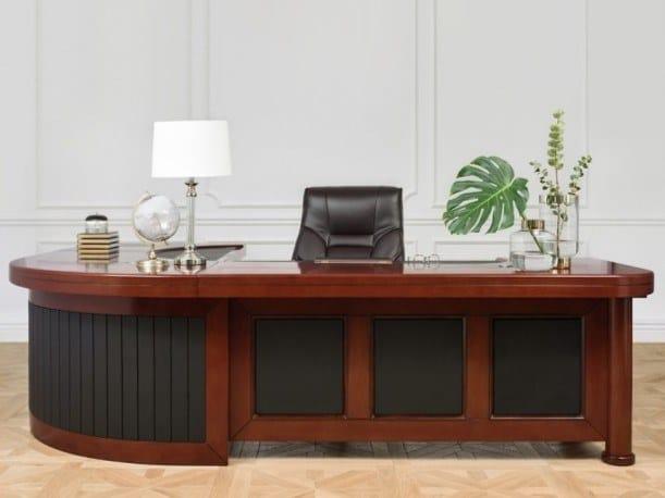 Scrivania ad angolo direzionale in legno impiallacciato PRESTIGE | Scrivania direzionale by Arrediorg.it®