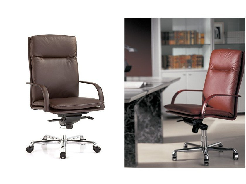 Leather executive chair with armrests with casters PRESTIGE by Polflex