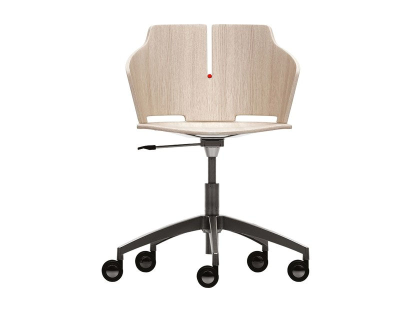 Height-adjustable chair with 5-spoke base with casters PRIMA | Chair with 5-spoke base by Luxy