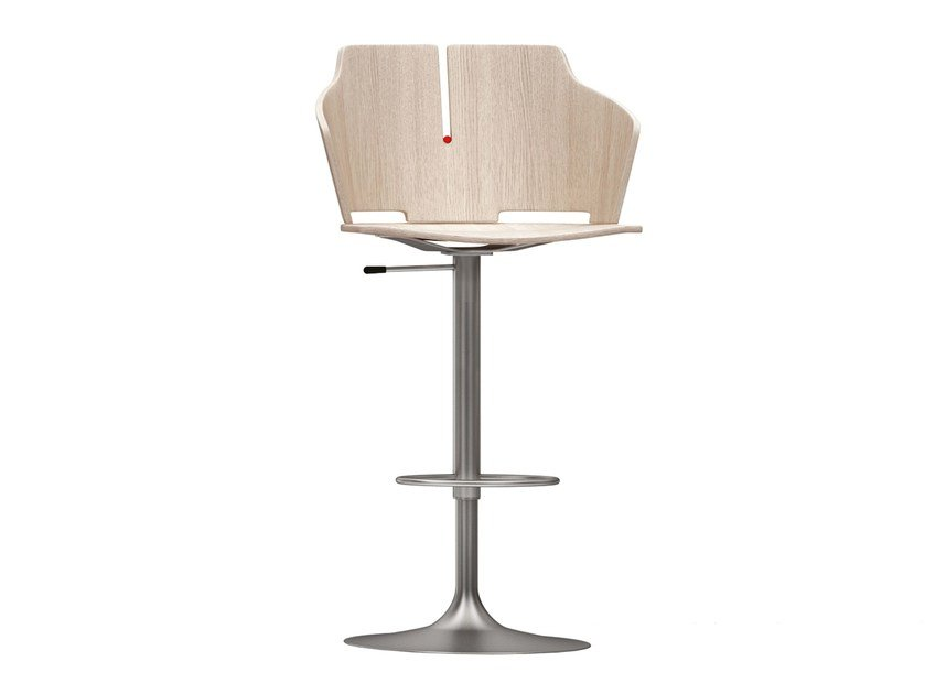High height-adjustable stool with back PRIMA | Height-adjustable stool by Luxy