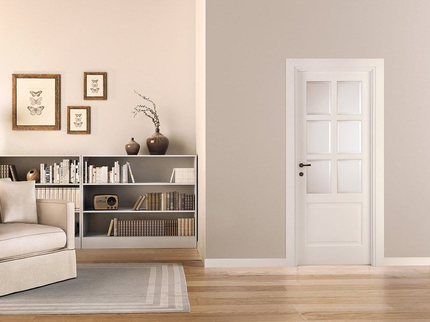 Lacquered wood and glass door PRIMA by LEGNOFORM