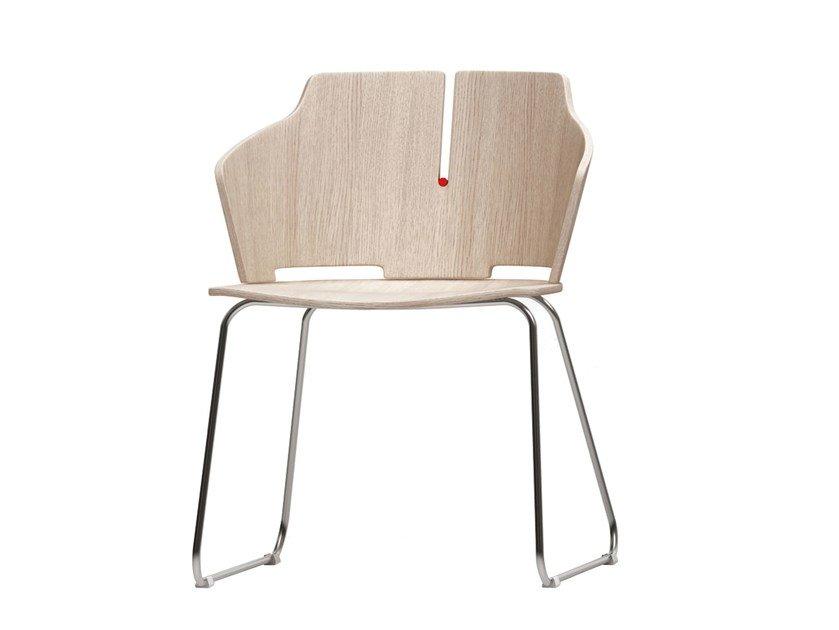 Sled base laminated wood chair PRIMA | Sled base chair by Luxy