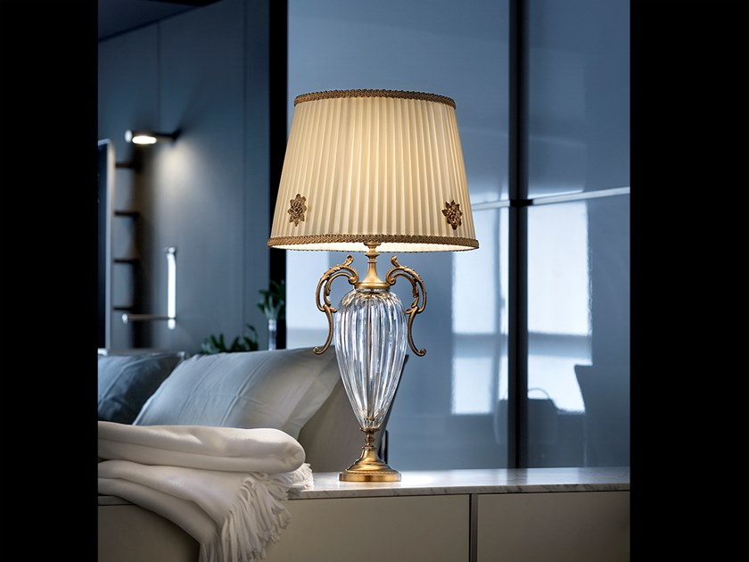 Classic style direct light metal table lamp with crystals PRIMADONNA TL1G by Masiero