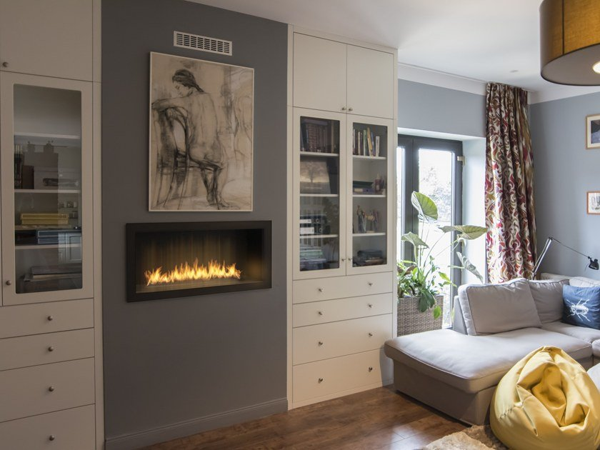 Built in bioethanol wall mounted fireplace primefire in for Chimeneas de lena empotradas