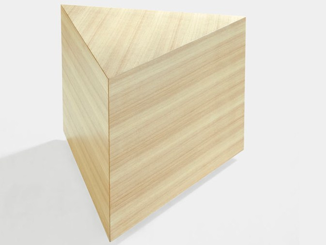 Low triangular wooden coffee table PRISMA | Coffee table by Derlot Editions