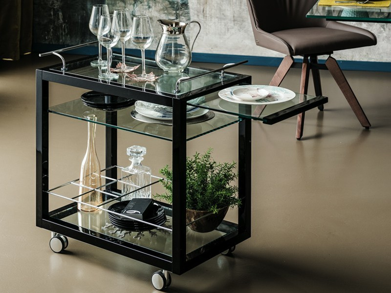 Wood and glass drinks trolley PROFIL BAR by Cattelan Italia