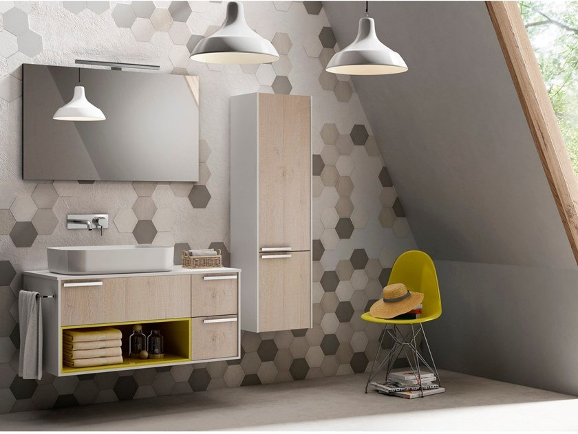 Wall-mounted vanity unit PROFILO by Gran Tour