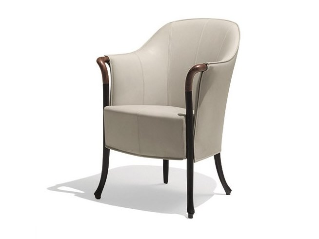 Leather easy chair with armrests PROGETTI SENSE | Leather easy chair by GIORGETTI
