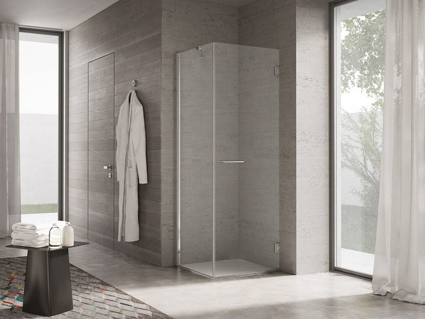 Corner glass shower cabin with hinged door PROJECT | Shower cabin by Idea