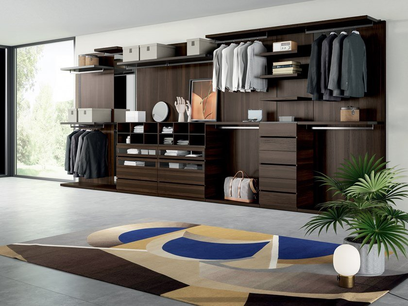 Sectional melamine-faced chipboard walk-in wardrobe PROJECT UP 03 by Dall'Agnese