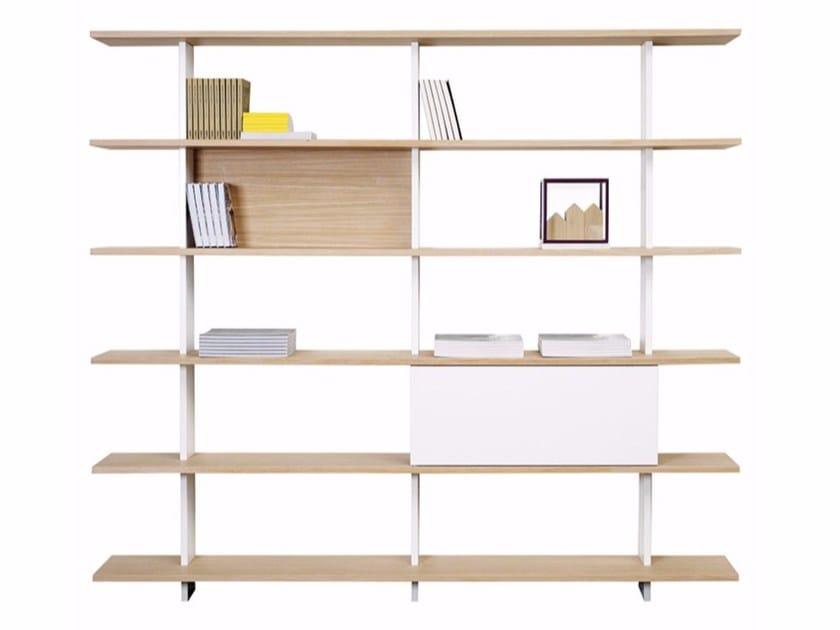 Open wall-mounted oak bookcase PROUST by ASPLUND