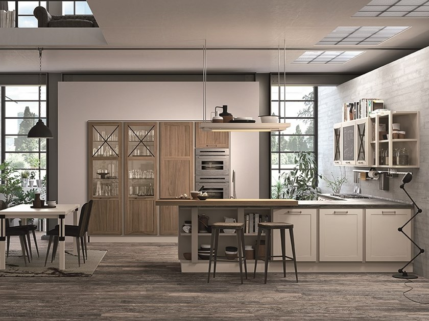Contemporary style lacquered wooden kitchen with peninsula PROVENZA | Kitchen with peninsula by Cucine Lube