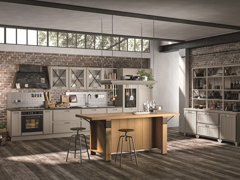 Lacquered wooden kitchen with handles PROVENZA | Kitchen by Cucine Lube