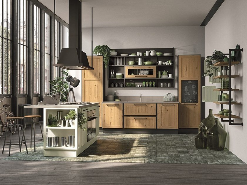 Lacquered wooden kitchen with island PROVENZA | Kitchen with island by Cucine Lube