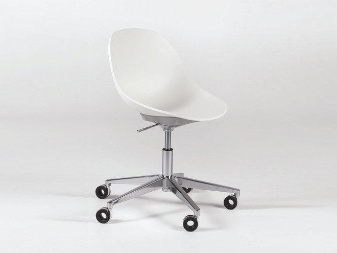 Contemporary style height-adjustable synthetic material chair with 5-spoke base with casters PULL DESK by Casprini