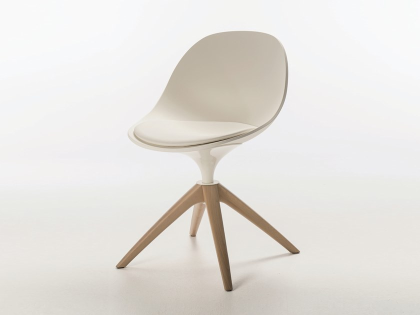 Swivel trestle-based polyurethane chair with integrated cushion PULL SPIDER WOOD by Casprini