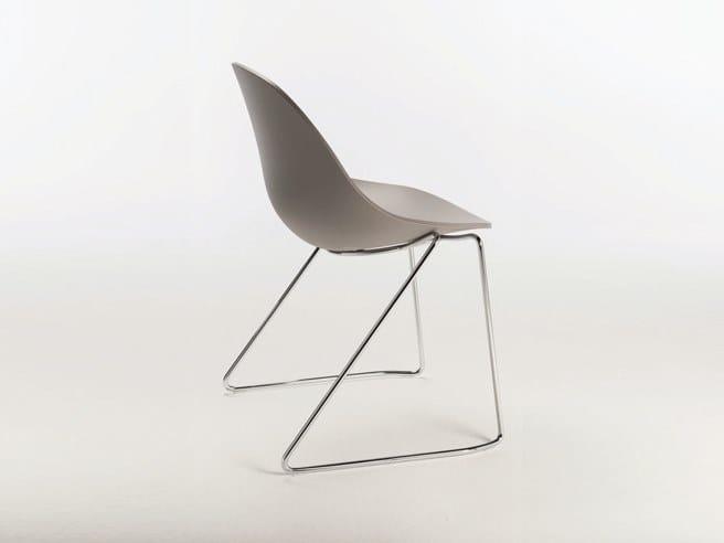Sled base polyurethane chair PULL WIRE by Casprini
