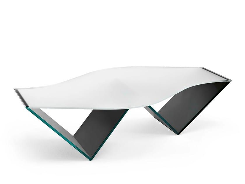 Tavolino in vetro con portariviste PULSE by Tonelli Design