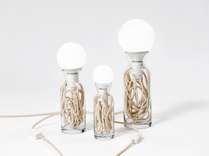 Direct light glass table lamp PULSE ECRU by bigdesign