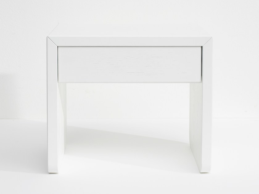 Lacquered rectangular MDF bedside table with drawers PURE | Bedside table with drawers by Loof