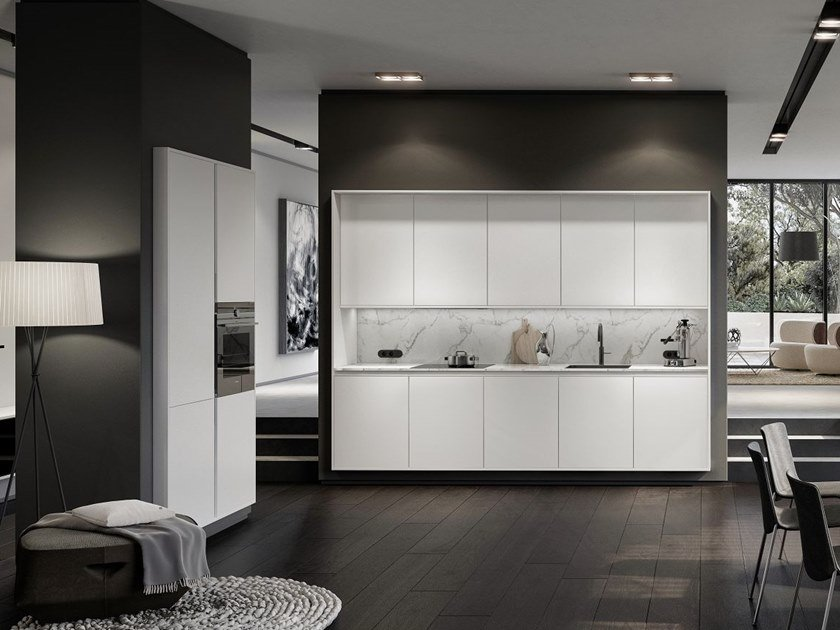 Lacquered linear fitted kitchen PURE COLLECTION by SieMatic