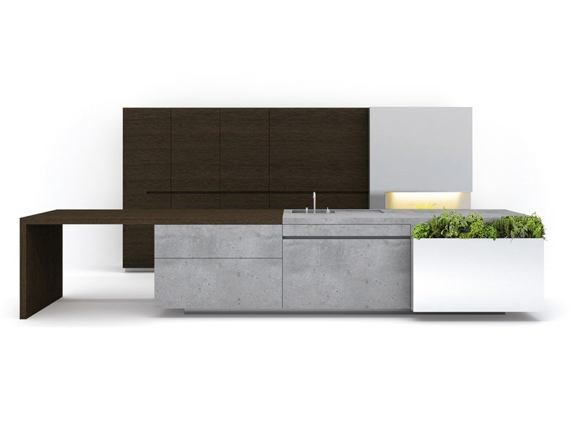 Cucina in cemento con isola PURE by Steininger