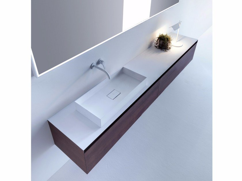 Wall-mounted wooden vanity unit with drawers PURE | Wall-mounted vanity unit by FALPER