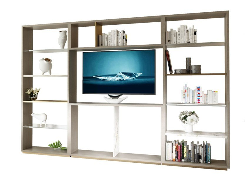 Freestanding wood and glass TV wall system PURO | Storage wall by MORADA
