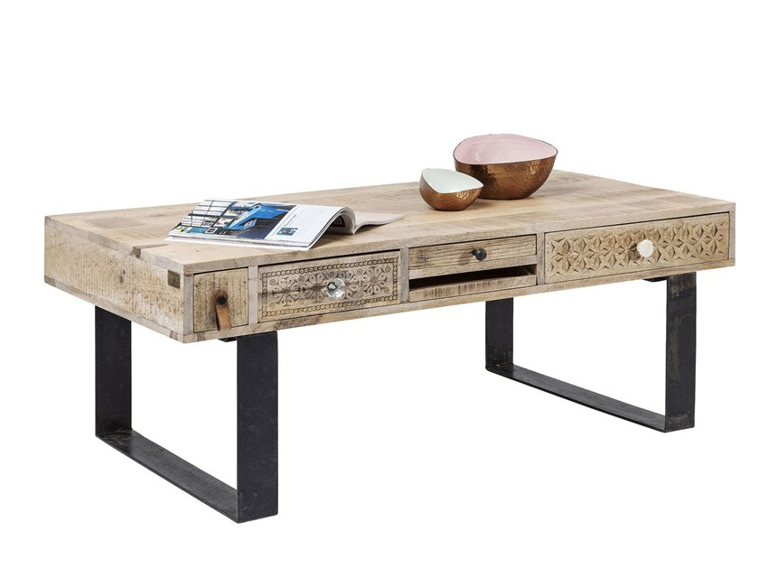 Sled Base Rectangular Wooden Coffee Table For Living Room Puro By