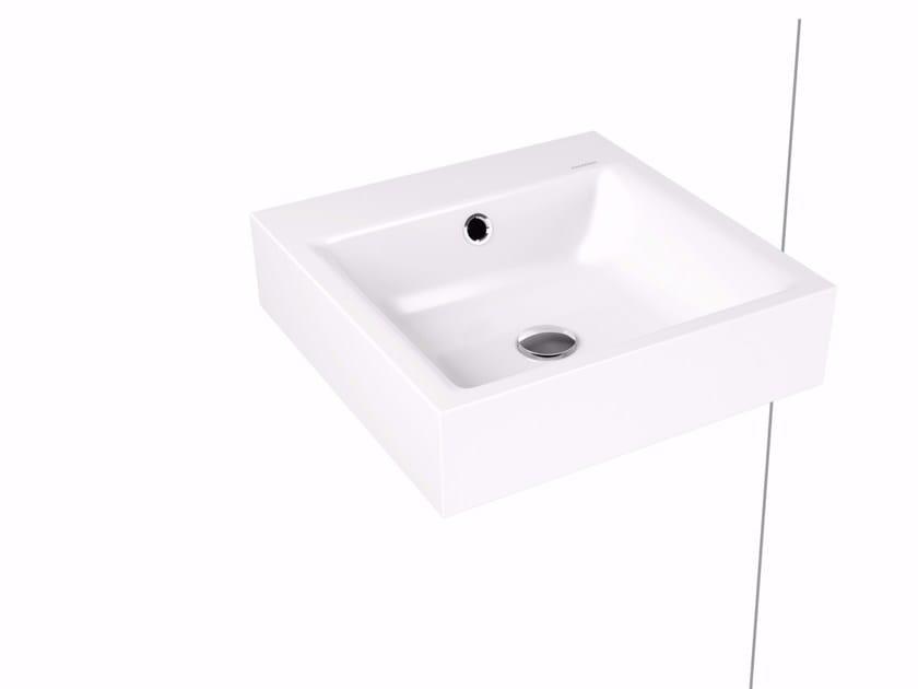 Rectangular wall-mounted enamelled steel washbasin PURO | Wall-mounted washbasin by Kaldewei Italia