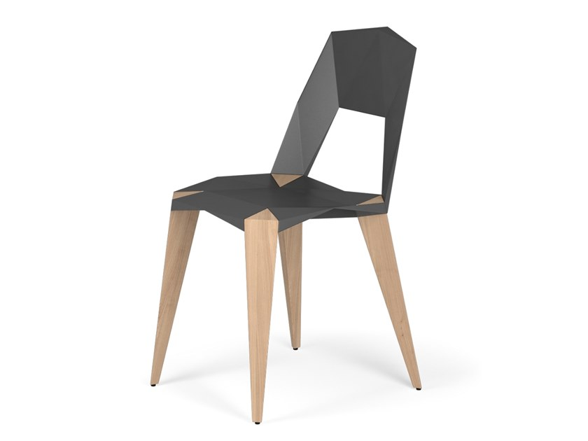 Aluminium and wood chair PYTHAGORAS4 by KUBIKOFF