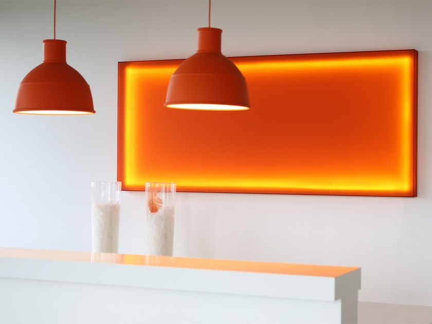 Acoustic colored light wall panel by seven colors design