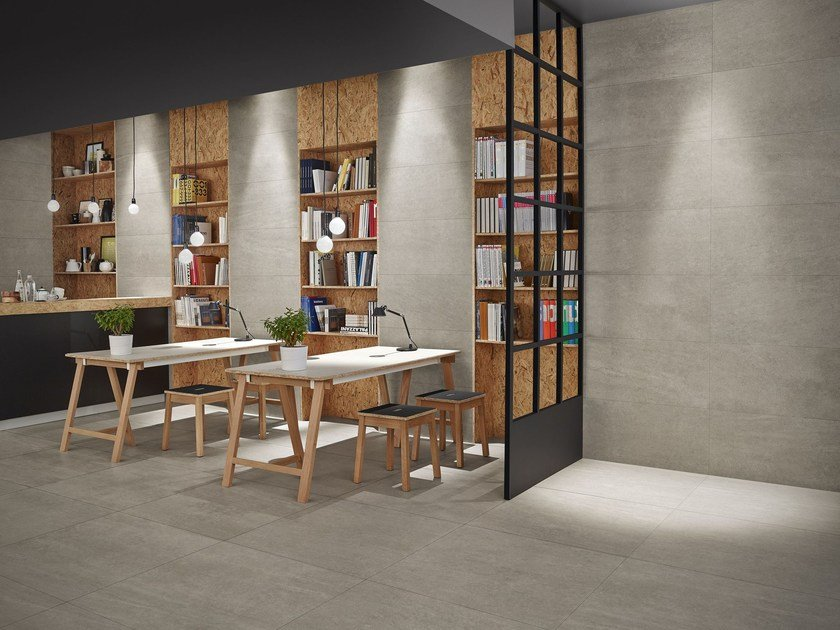Anti-slip wall/floor tiles with stone effect SLABSTONE by MARGRES
