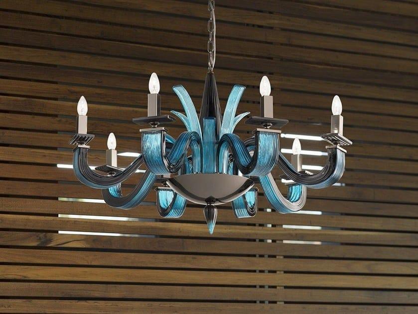 Glass chandelier ARGO L8 by Euroluce Lampadari