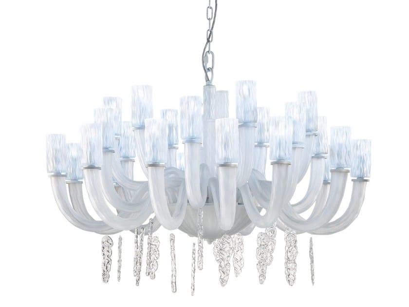 Glass chandelier ICEBERG L12+6+6 by Euroluce Lampadari
