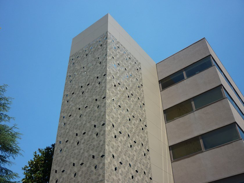 Perforated and embossed sheet for facade Perforated sheet for facade by Cantori Alluminio