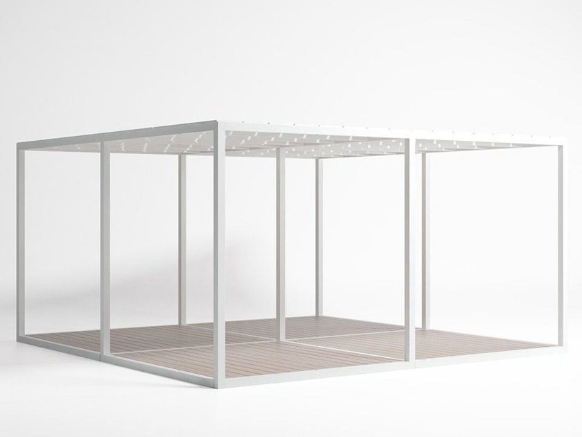 Freestanding aluminium pergola Module Floor Polyethylene Roof By