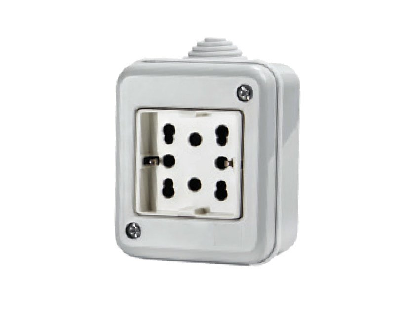 Waterproof 2-Module electrical outlet SIDE IP40 by 4 BOX