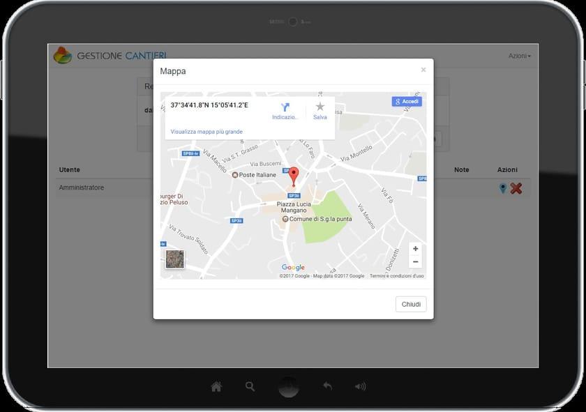 PuntaNet WebApp Registro entrata/uscita GPS