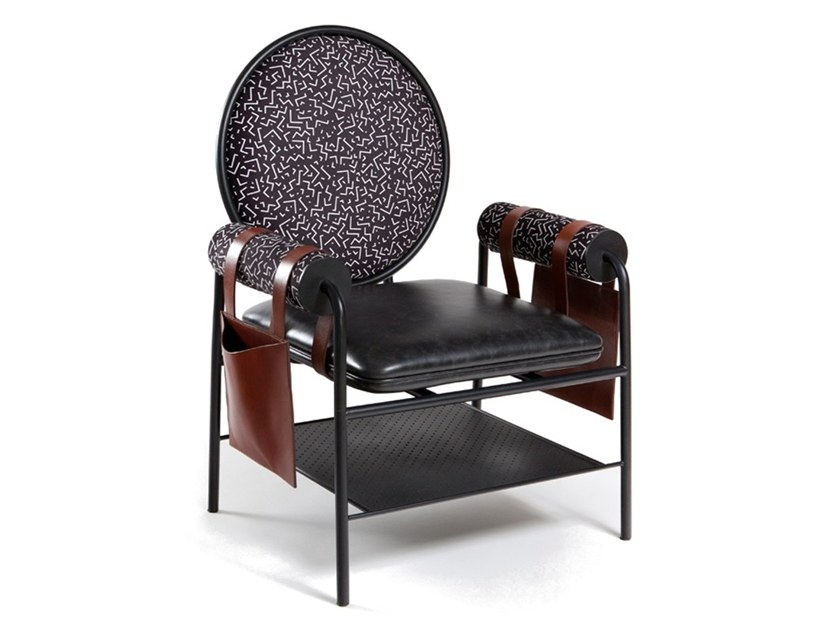 Upholstered leather chair with storage space Q | Chair by KONTRA