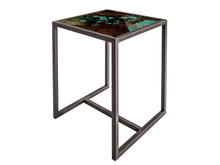 Square painted metal coffee table QR-7A/7B by MOMENTI