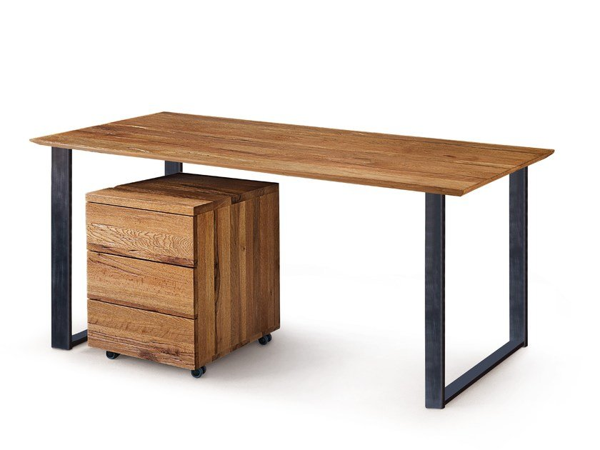 Rectangular Solid Wood Writing Desk Quadra Office By Oliver B