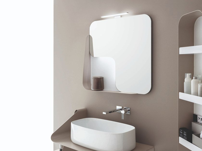 Square wall-mounted mirror with cabinet QUADRA | Square mirror by ARBLU