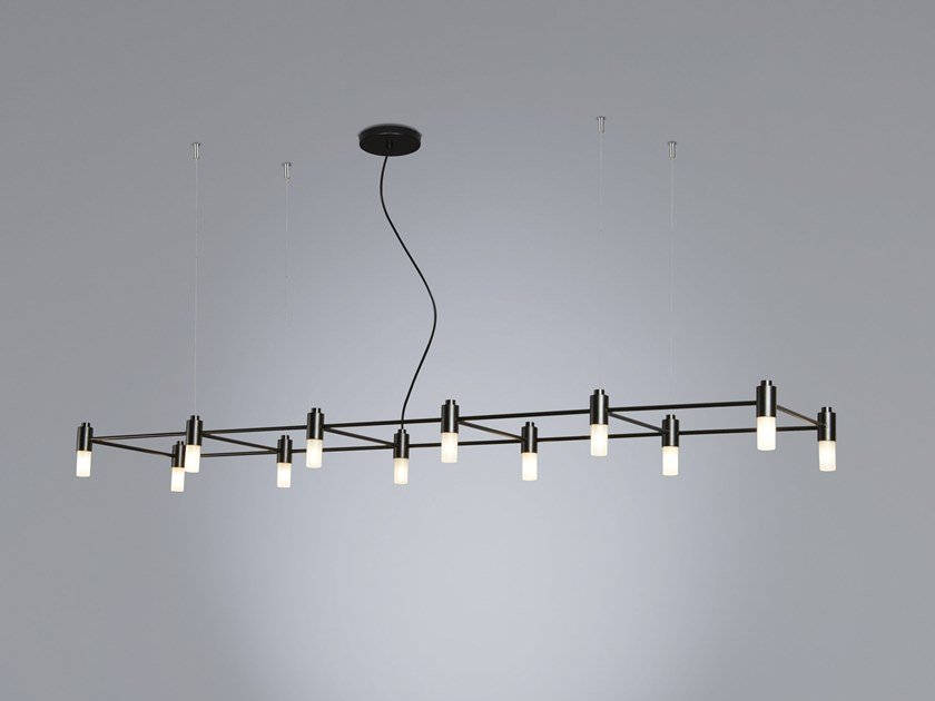 Powder coated steel pendant lamp QUADRANTE by Tooy