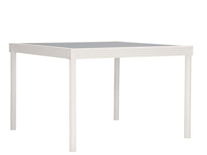 Square glass and aluminium dining table QUADRATL | Square table by JANUS et Cie