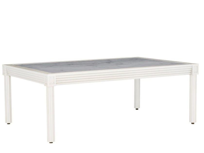 Rectangular Carrara marble and aluminium dining table QUADRATL | Table by JANUS et Cie