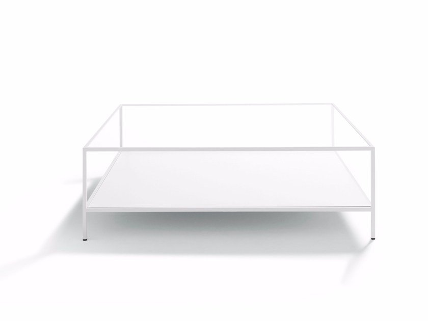 Square glass and steel coffee table QUADRATO by DE PADOVA