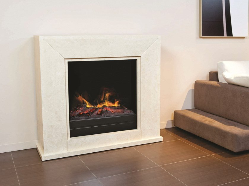 Electric wall-mounted vent free reconstructed stone fireplace QUADRO MF by BRITISH FIRES